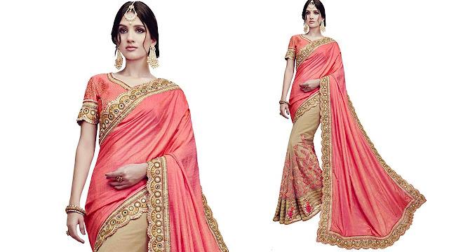 SareeShop Self Design, Embroidered Bollywood Georgette, Net Saree  (Pink)