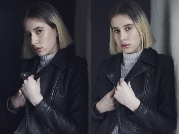 Разница в портретах при использовании панели V-Flat при съемке со светом из окна