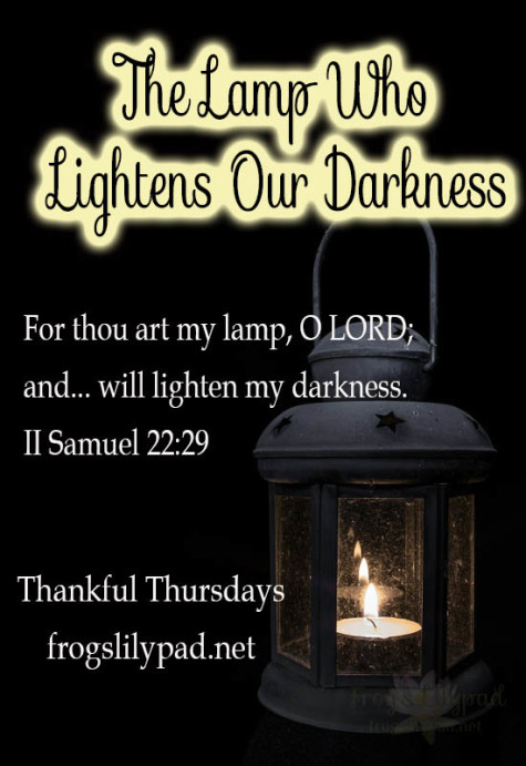 God created the sun and moon to give us light. We have another light we can depend on, the Lamp who lightens our darkness. Thankful Thursdays Linkup at frogslilypad.net