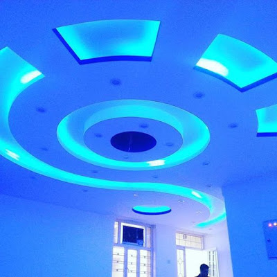 LED indirect lighting for false ceiling design of gypsum board sheets for living rooms