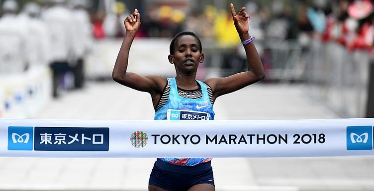 Ruti Aga, vencedora da maratona de Tóquio em 2019