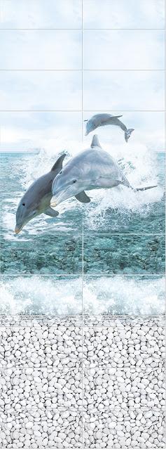 Море Панно Дельфины