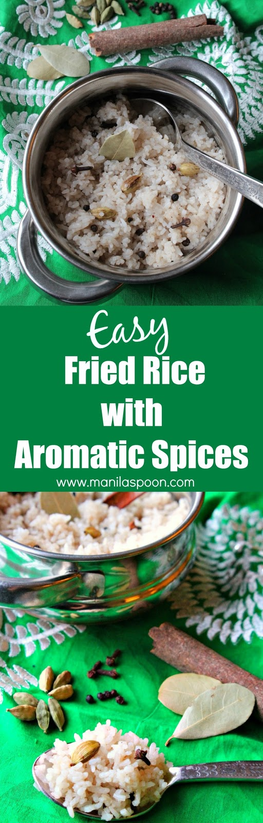 Tasty and mildly spiced this fried rice is the perfect side dish for your favorite Asian food especially curries and stews. Great way to use left-over rice, too and it's gluten-free! | manilaspoon.com