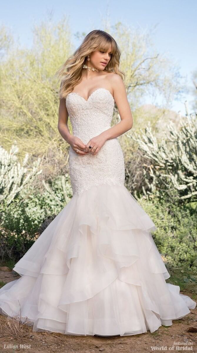 f45ce13bbab Lillian West Spring 2018 Asymmetric Dropped Waist Bridal Dress with Tiered  Skirt