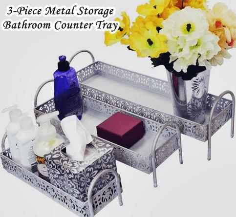 Bathroom Counter Tray Metal Storage