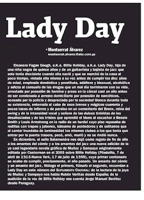 Billie Holiday en el Suplemento Cultural de ABC Color -Presentación de la editora, Montserrat Álvarez