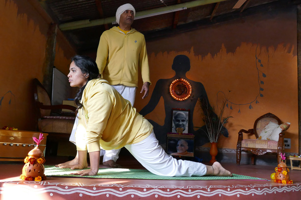 Yoga Guru Dr Ashutosh with Yoga Acharaya Kadambari at Inteyoga Ashram Mysore India