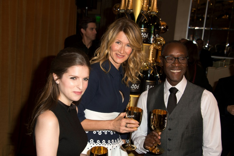 (L-R) Actors Anna Kendrick, Laura Dern and Don Cheadle attend the at The 74th Annual Golden Globe Awards Nominations at The Beverly Hilton Hotel, in Beverly Hills, California, on December 12, 2016