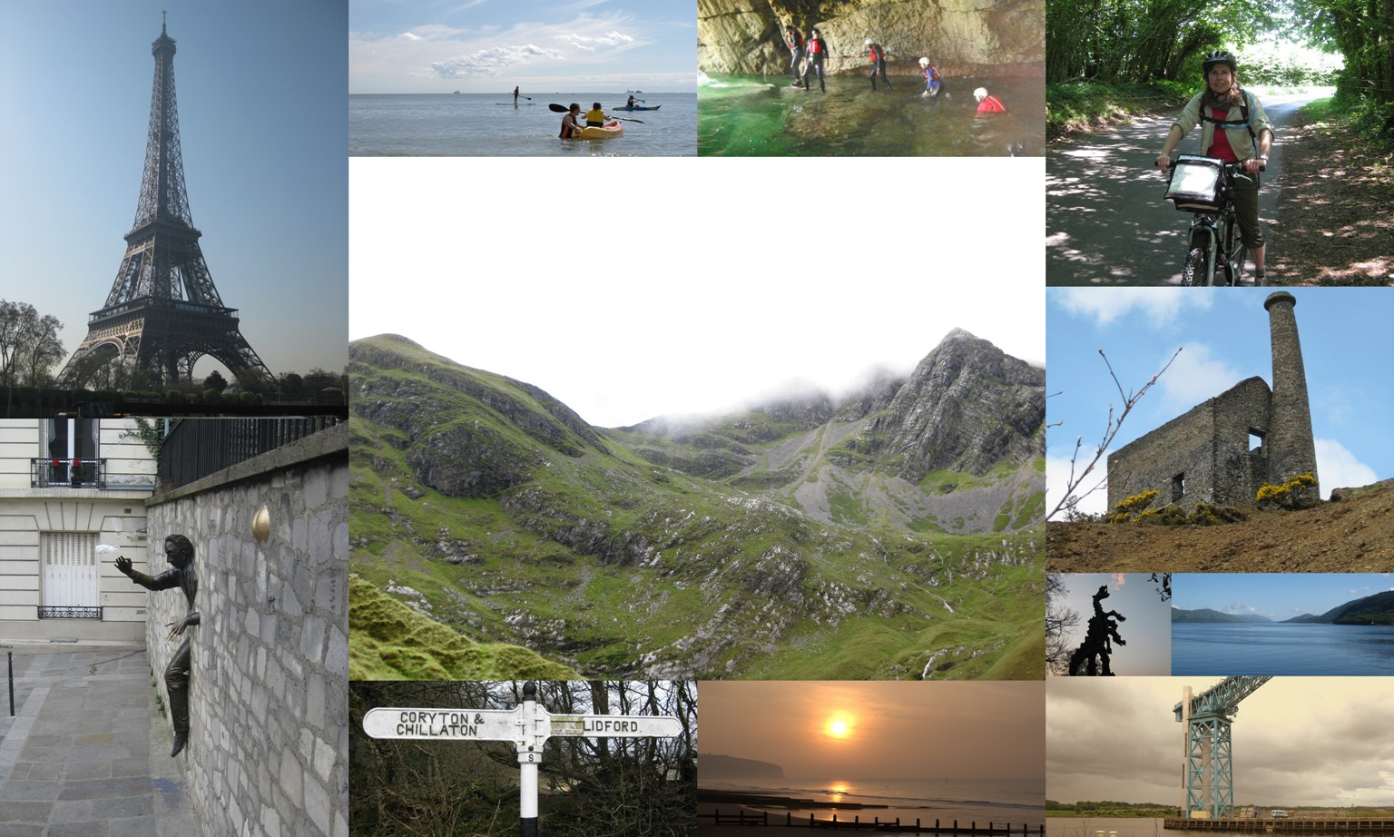 images from our travels. Paris, Kayaking, coasteering, cycling, Krakow, Glasgow, Dartmoor, Scotland