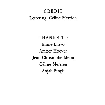 Read Credits Page from Marjane Satrapi's Persepolis 2 - The Story of a Return