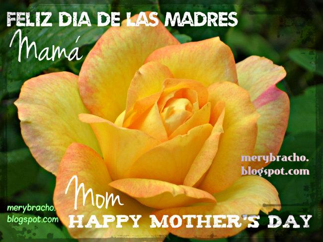 Feliz Día de las Madres. Happy Mother's Day. Free christian mothers card, tarjeta gratis del día de las madres bilingue, español, inglés, mayo 2014.
