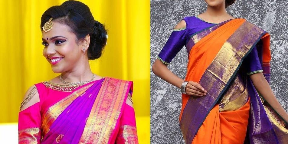 b34c06ed8fbcd  4 Boat style high neck cold shouldered blouse design for kanjeevarams -  Trendsetter chic