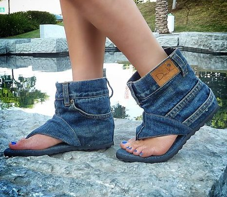 How To Recycle Cool Recycled Denim Sandal Boots