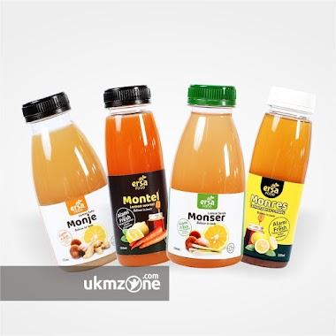 Desain Label Kemasan Minuman Botol Untuk UMKM Kuliner Ersa Food