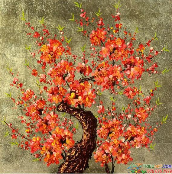 Tranh hoa đào ngày tết