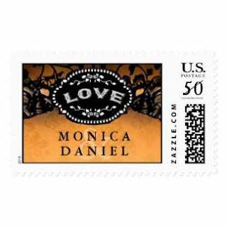 Orange & Black Elegant Halloween LOVE Wedding Name Stamp