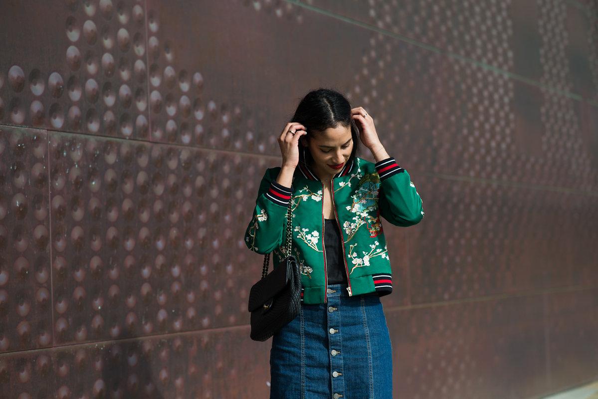 Allergic to Vanilla- SF style blog, Zaful, Flower embroidery bomber jacket, editorial photography, shadows, red lipstick, gap denim mini skirt,