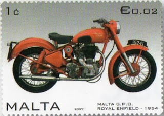 Royal Enfield motorcycle on postage stamp.