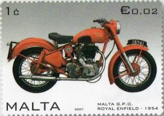 Royal Enfield motorcycle on postage stamp.