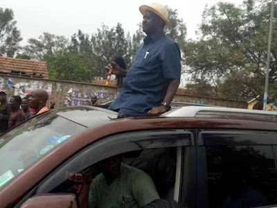 Raila Odinga addressing people in ACK St Stephens. PHOTO| Courtesy LUKE AWITI