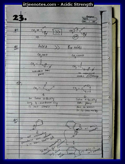 Acidic Strength Notes chemistry