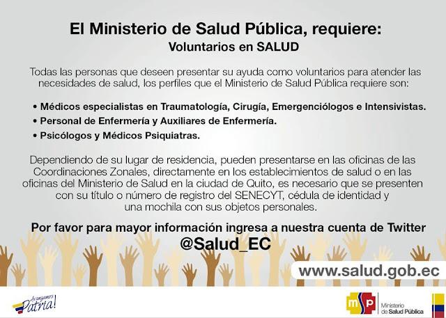 ministerio salud ecuador voluntarios terremoto