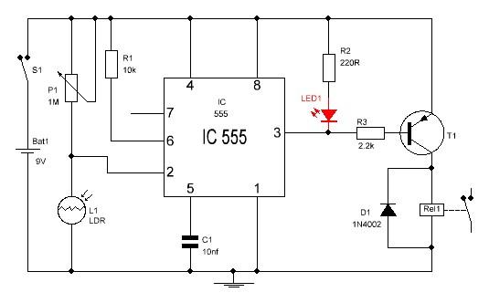 Detector de oscuridad con el  555 relé.