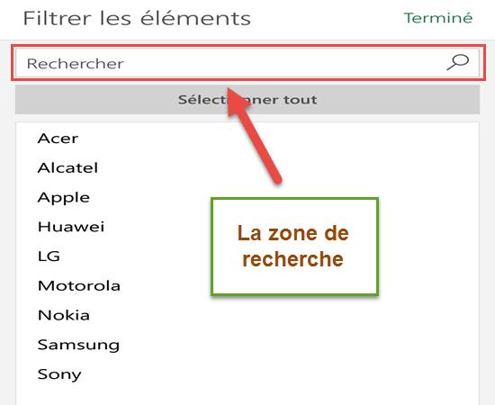 La zone de recherche - Excel Android