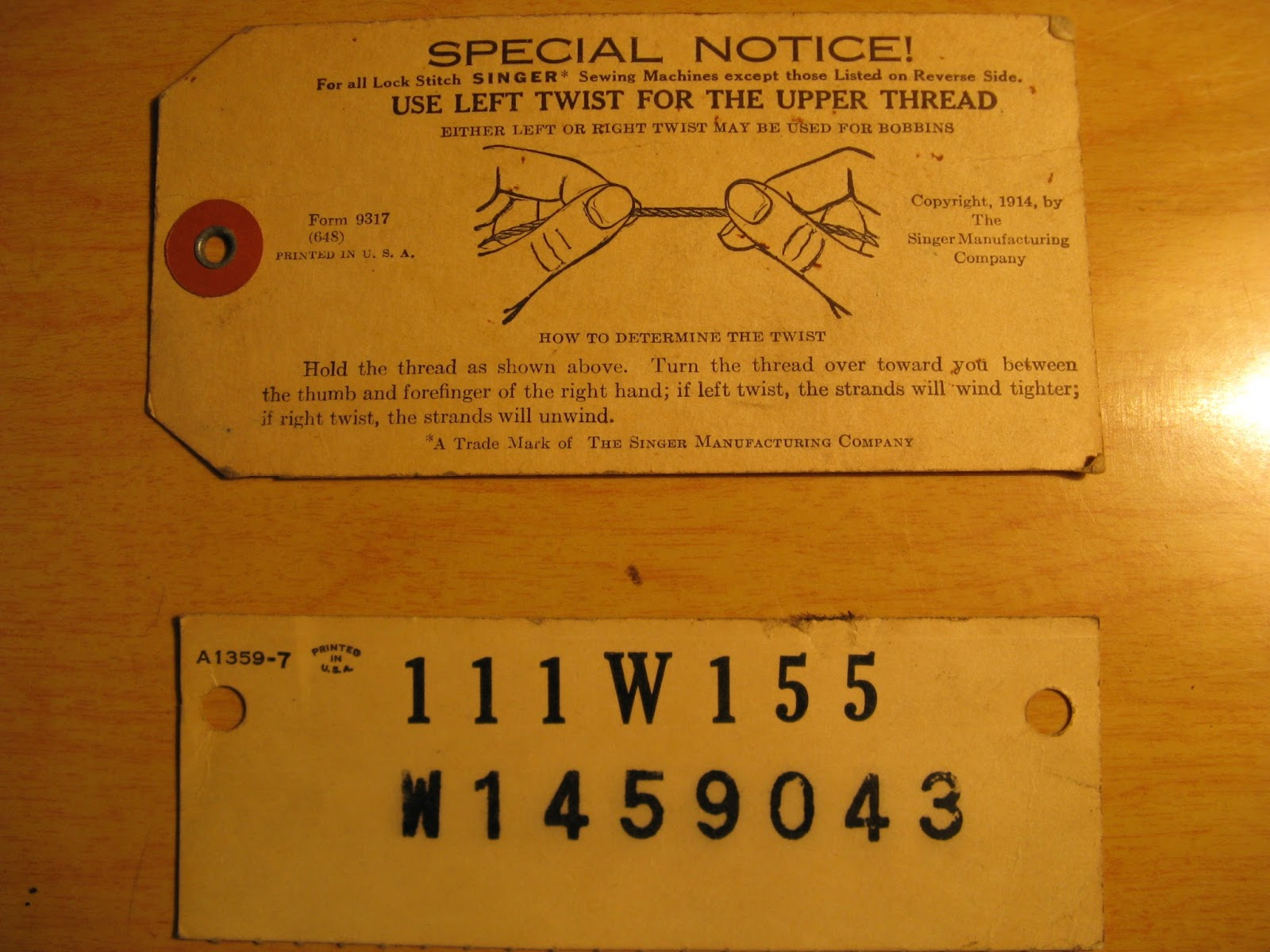 Sewing Machine Nut Industrial Strength Singer 111w155 648 Threading Diagram Below Are A Couple Tags That Originally Came With The And Were In One Of Booklets