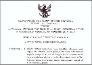 KMA Nomor 157 tentang Uang Kuliah Tunggal pada PTKIN Tahun Akademik 2017-2018