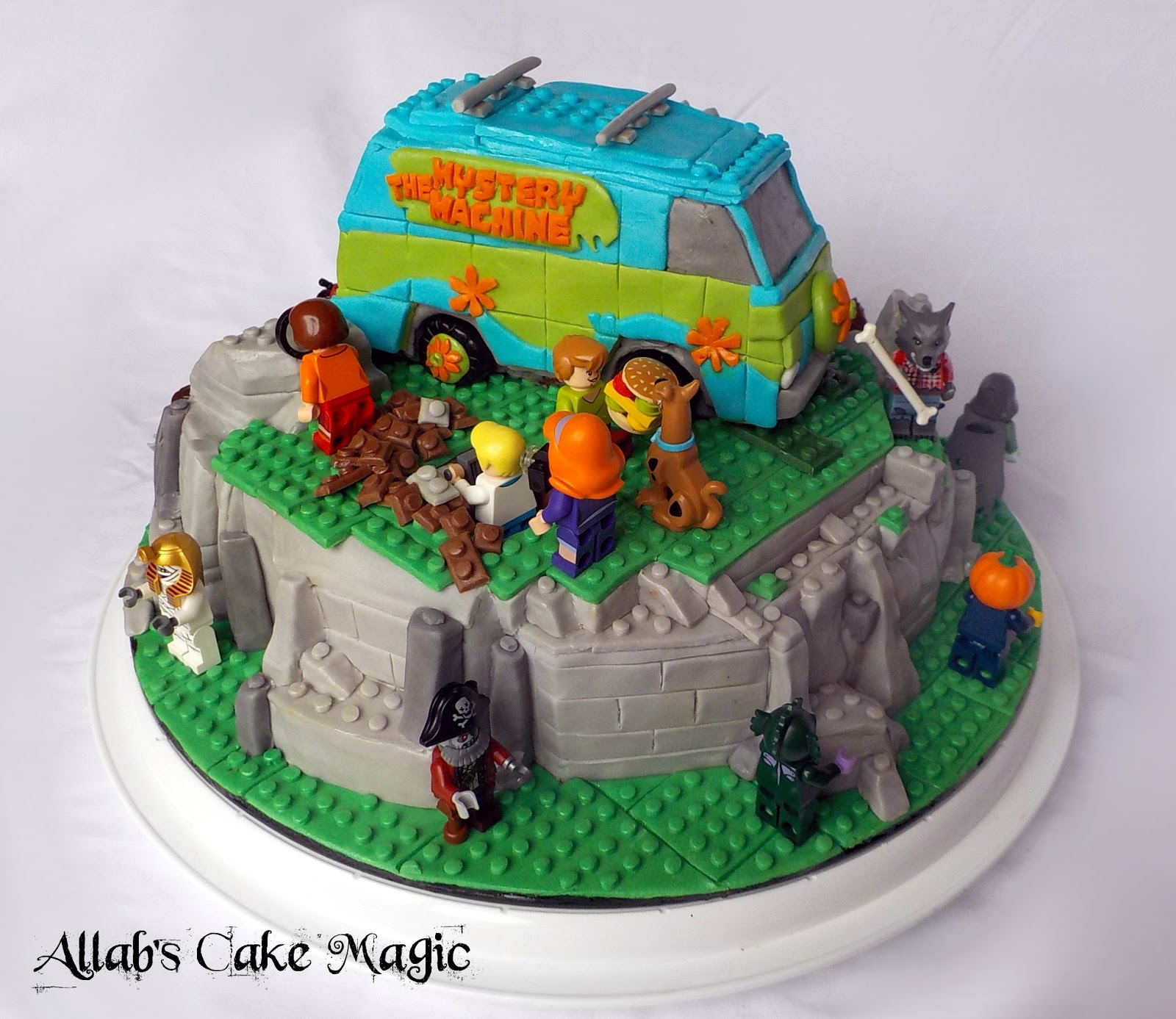 Yogourt Cake With Chocolate Ganache Cover With Sugarpast For The Decoration  (Figurine Plastic Lego)
