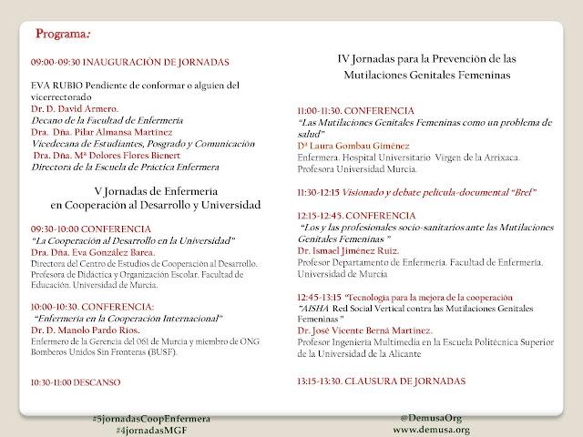 V Jornadas de Enfermería en Cooperación al Desarrollo y Universidad y IV Jornadas para la Prevención de las Mutilaciones Genitales Femeninas.