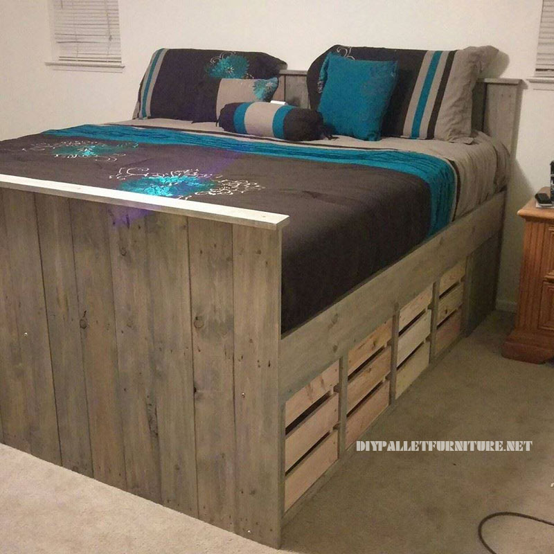 cama con cajoneras de palets. Black Bedroom Furniture Sets. Home Design Ideas