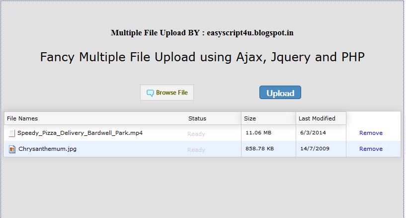 Fancy Multiple File Upload using Ajax, Jquery and PHP