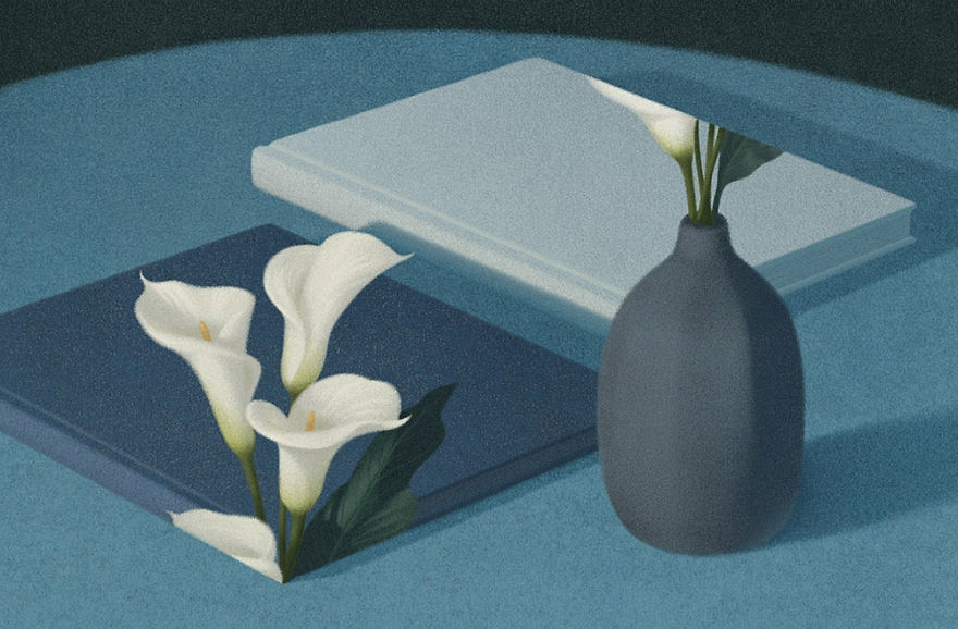 09-Calla Lilies-Jungho-Lee-Illustrations-of-Book-Lovers-Surreal-Wolds-www-designstack-co