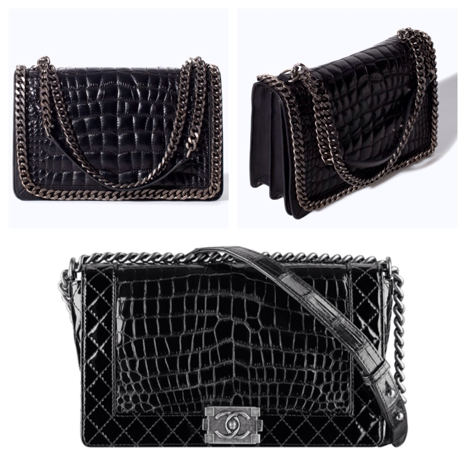 c53f8f441e34 Top: multiple views of Crocodile pattern leather