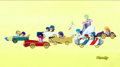 The ponies in their carts, Wacky Races style