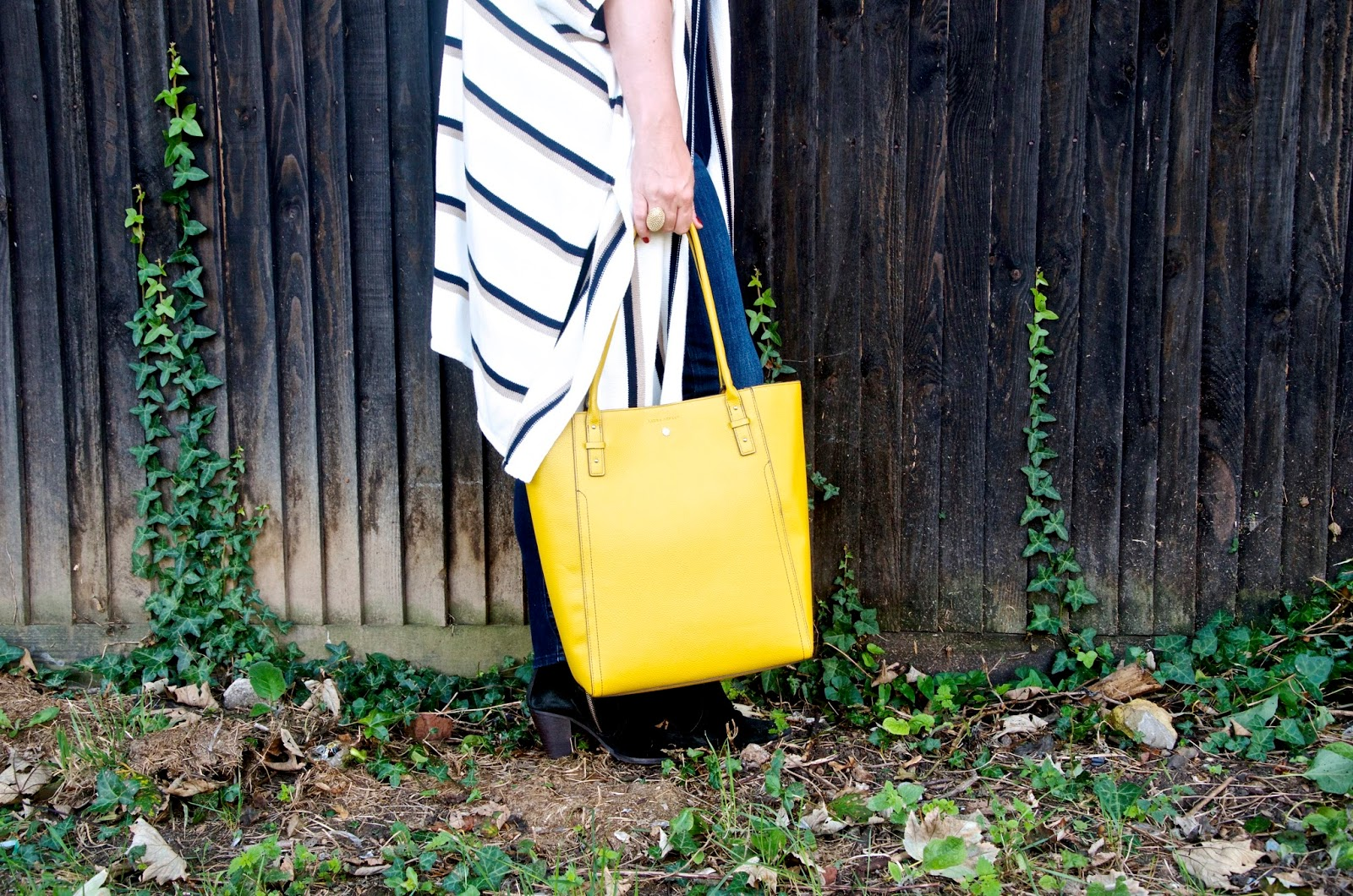 Gold Dome And Other Stories Ring and Yellow Leather Tote Bag