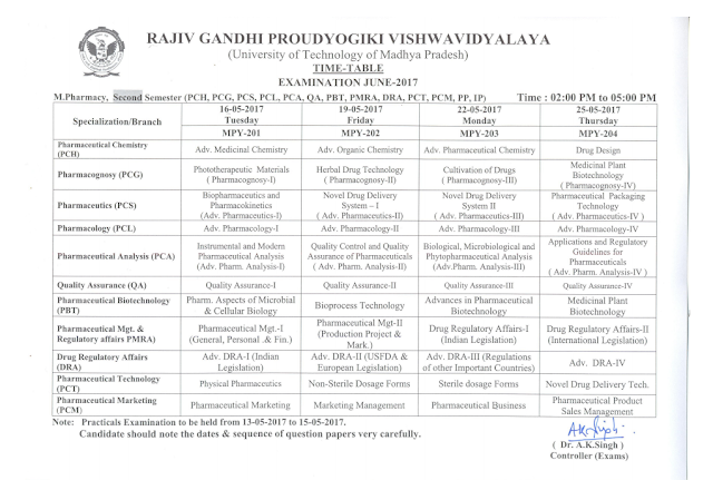 RGPV M.Pharmacy 2nd Semester Examination Time Table 2017