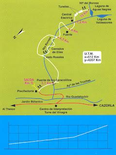 Mapa de la Ruta del Río Borosa.