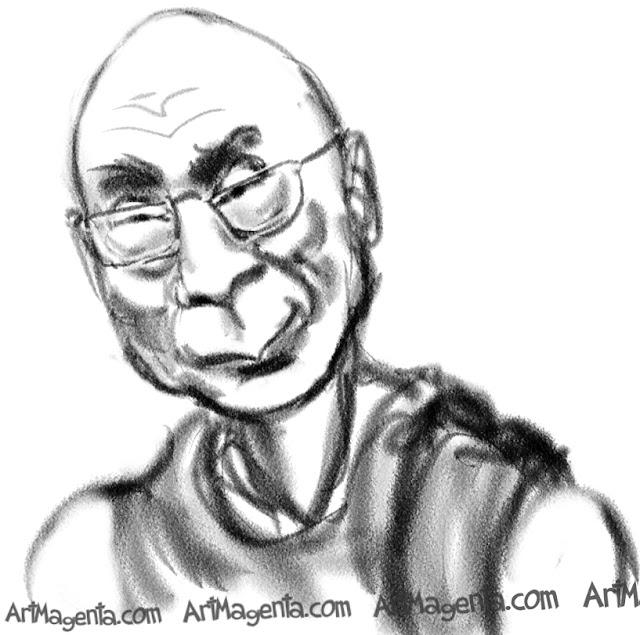 Dalai Lama caricature cartoon. Portrait drawing by caricaturist Artmagenta