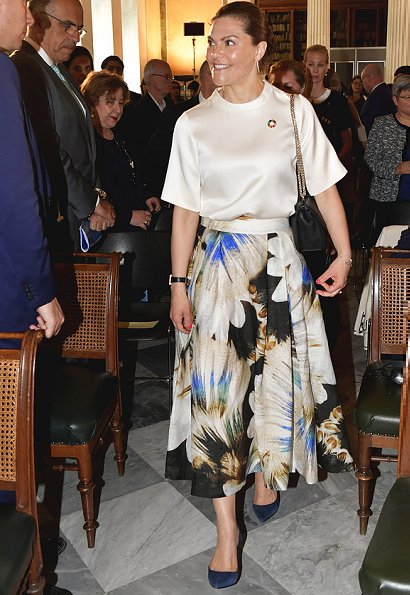 Crown Princess Victoria wore H&M Conscious Exclusive SS2019 Collection Multicolour Silk Blend Floral Maxi Skirt