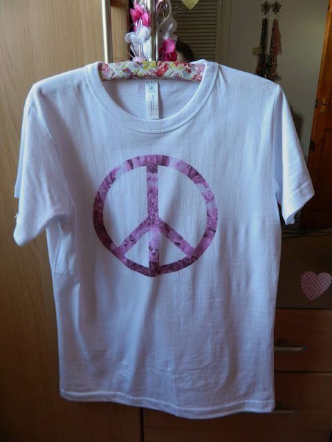 Orange circle pink floral peace symbol t shirt