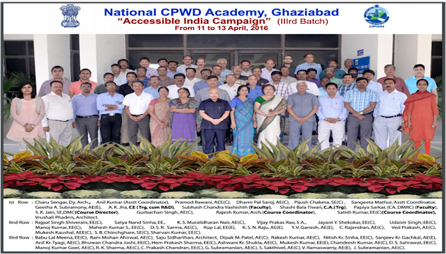 Group Photo of Batch III Trainees at National CPWD Academy, Ghaziabad trained as Basic Access Auditors under Accessible India Campaign during 11-13 April 2016. A copy of this photo is available on CPWD website at link: http://cpwd.gov.in/WriteReadData/training_cir/20749.pdf