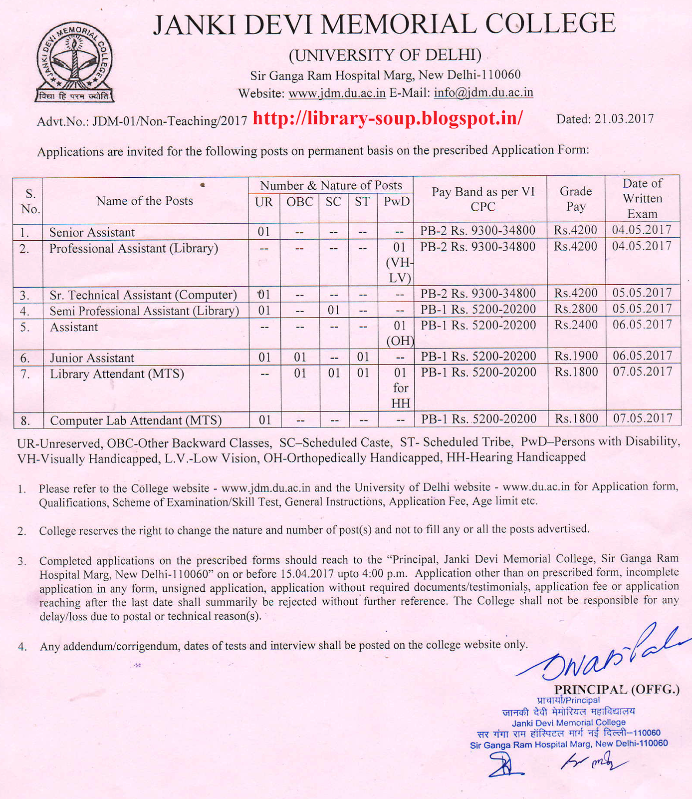 library soup professional assistant semi professional assistant professional assistant semi professional assistant and mts library vacancy at janki devi memorial college university of delhi new delhi 60