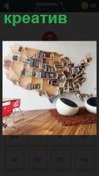 в комнате оформление стены и кресла с креативом, творческое мышление