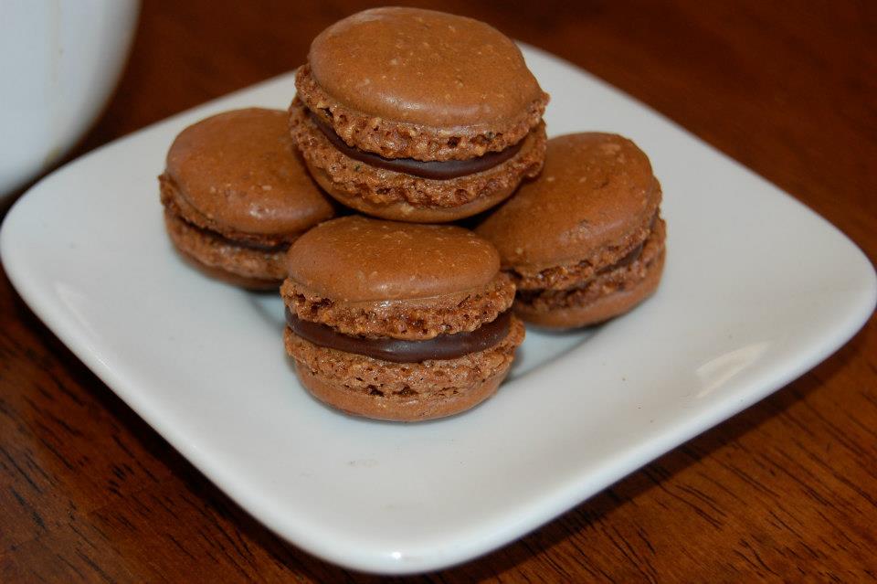 Chocolate Macarons Filled With Chocolate Ganache