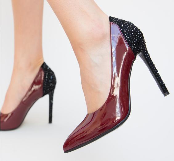 Pantofi grena de ocazii ieftini cu toc inalt elegnati model nou