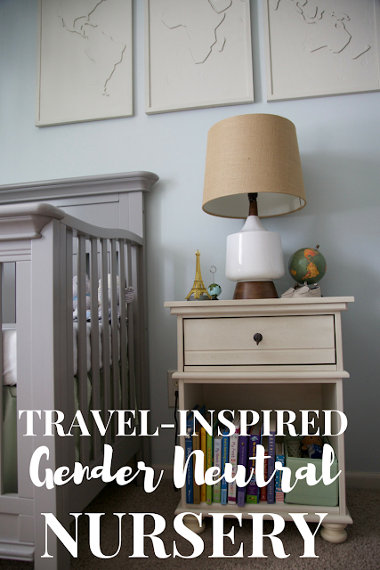 A travel and adventure-inspired gender neutral nursery with pops of burlap, pale gray, white, blue, and green.