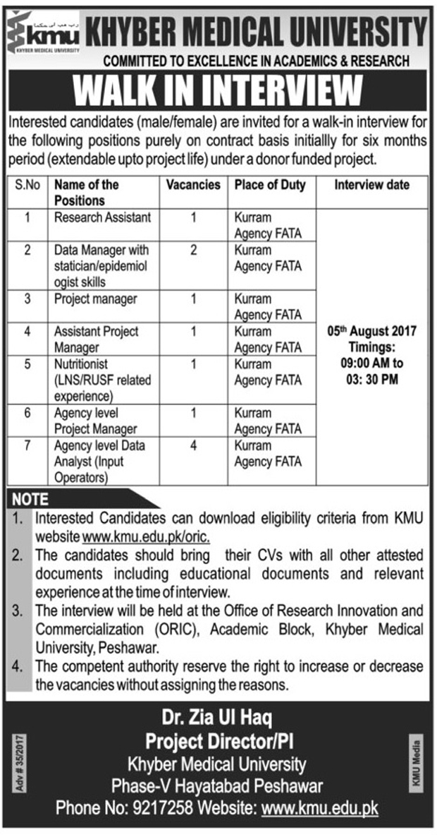 Jobs in Khyber Medical University Kurram Agency Fata 29 July 2017